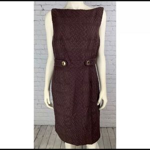 MILLY Brown Open Back Sheath Dress Gold Buttons 2